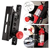 Adjustable Aluminum Roll Bar Bottle/Fire Extinguisher Mount Holder with 4 Clamps Vehicle Fire Extinguisher Bracket for Wrangler TJ JK JL JKU UTV Polaris RZR Ranger (Black Roll Bar Holder)