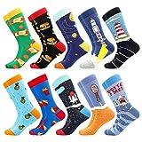 BONANGEL Calcetines de Vestir Divertidos, Coloridos Calcetines Para Hombres,Calcetines de Oficina de Algodón con Estampados Divertidos y Elegantes de Fantasía, Locos Geniales (10 Pairs-Bread)