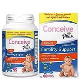 Conceive Plus Uomo Fertility Vitamine - Aumenta il testosterone, aumenta la produzione di sperma - Zinco, acido folico, radice di maca, selenio, pillole - 60 Capsule Vegetariane