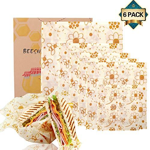 Shayson Involucro di Cera d'api-Set di 6 Bee Wrap Involucri,Cera d'api Sustainable Riutilizzabile per Alimenti Variety Pack Formaggi, Frutta, Verdure e Pan
