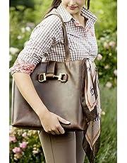 HKM - Bolso de Mano de Piel con Efecto Vintage, Color marrón