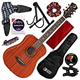 Luna Safari Muse Mahogany 3/4-Size Travel Acoustic Guitar with Gigbag, Guitar Stand, and Deluxe Bundle