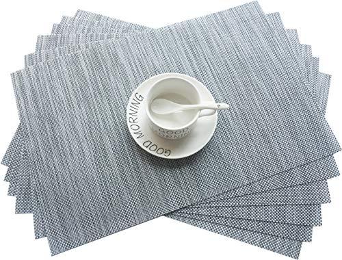 Addfun Sets de table en PVC isolants - Napperons antidérapants et lavables gris