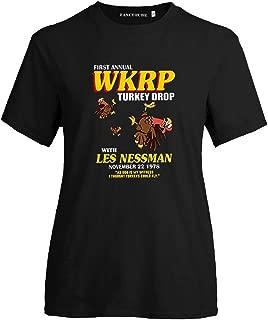 AKlamater Women's First Annual WKRP Turkey Drop T-Shirts Funny Turkey Cartoon Graphic Tee Tops