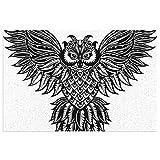 Cover Owl Tattoo Poster Print Animal Exterior Patio Alfombra de PVC, felpudo de bienvenida Alfombras de goma con respaldo Alfombras de piso Alfombra antideslizante para vestíbulo, porche delantero, pu