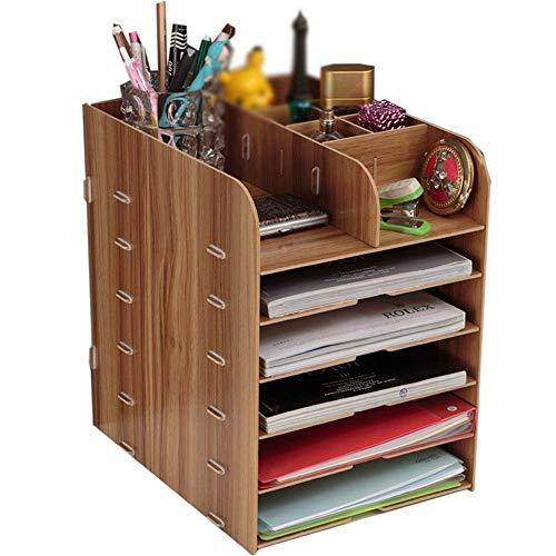 6 Clasificación de palets de madera Bastidores libro estante de la mesa Clasificador Organizador de almacenamiento de madera estante de almacenamiento en rack fácil de montar escritorio de oficina Org