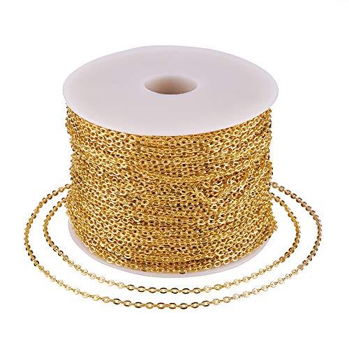 Craftdady Cadena de eslabones ovalados de oro de 328 pies con bobina de hierro soldado redondo de 3 x 2 x 0,6 mm para hacer collares y joyas.