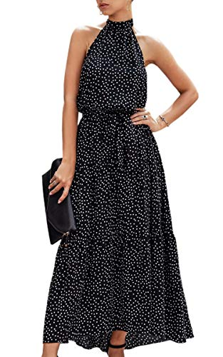 ECOWISH Women Dress Halter Neck Boho Floral Print Sleeveless Casual Backless Maxi Dresses with Belt 259 Black Medium