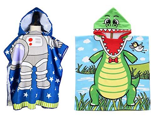 Lumsinker Toallas de baño para niños Natación Poncho de playa Bata de, 2 piezas de cocodrilo de astronauta, Talla única