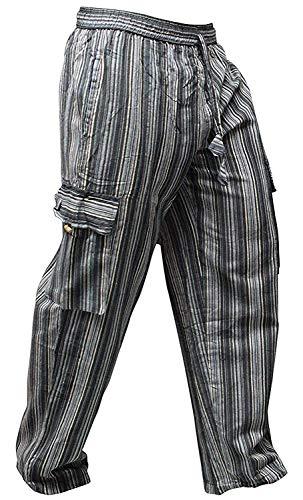 Shopoholic Fashion Bunt-gestreifte Hippie-Hose mit weitem Bein und Seitentaschen, Unisex Gr. M, Schwarz Mix