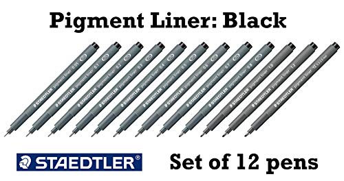 Staedtler Pigment Liner black fineliner pens, full professional 12 pieces artist drawing technical drafting sets Photo #4