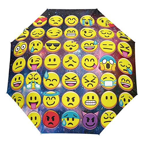 Galaxy Funny Emoji Auto Umbrella Open Close Winddichte Cute Emoticons Reiseschirm Leichter kompakter Sonnenschirm Sonnenschirm & Regen