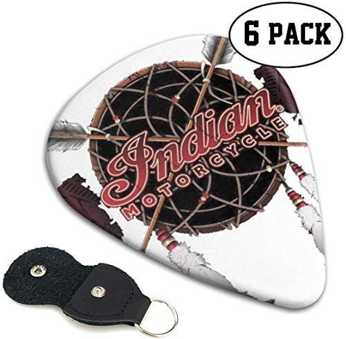 Indische Motorrad Logo Plektren 6er Pack Druck für E-Gitarre, Akustikgitarre, Mandoline und Bass.96mm