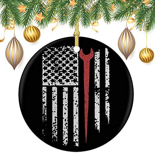 VDSA Ironworker American FlagRound Souvenir Christmas Ornaments Anniversary Tree Decoration 2.8in