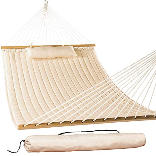 Lazy Daze Hammocks 55' Double Quilted Fabric Hammock Swing with Pillow and Carrying Bag, Dark Cream
