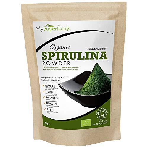 Spirulina Pulver Bio (200g), MySuperFoods, Vollgepackt mit Protein, Kalzium und Vitaminen, Nährstoffreich, Höchste Qualität verfügbar, Zertifiziert von der Soil Association