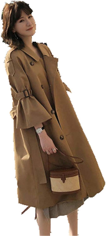 Windbreaker Female Spring Horn Sleeve Long Slim Trench Coat Three Quarter Sleeve Coat Double Breasted Khaki Overcoat