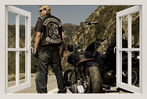 Unified Distribution Sons of Anarchy Jackson Teller Jax Charlie Hunnam - Wandtattoo mit 3D Effekt, Aufkleber für Wände und Türen Größe: 92x61 cm, Stil: Fenster