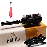 """Boar Bristle Round Brush for Blow Drying Set. Round Hair Brush With Large 2.7"""" Wooden Barrel. Hairbrush Ideal to Add Volume and Body. Free 3 x Hair Clips & Travel Bag."""