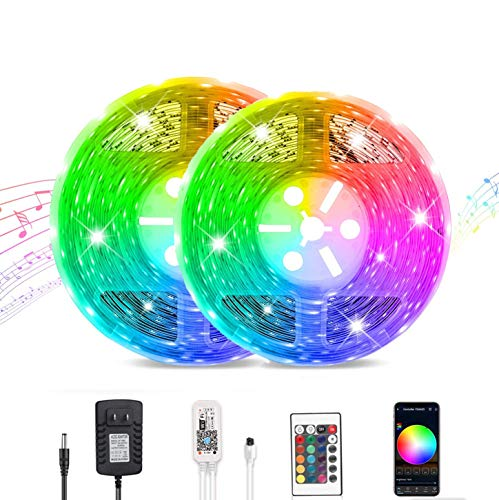 Smart WiFi LED Strip Lights Compatible with Alexa, Google Home Brighter 5050 LED, 16 Million Colors Phone App Controlled Music Light Strip for Home, Kitchen, TV, Party, for iOS and Android (32.8FT)