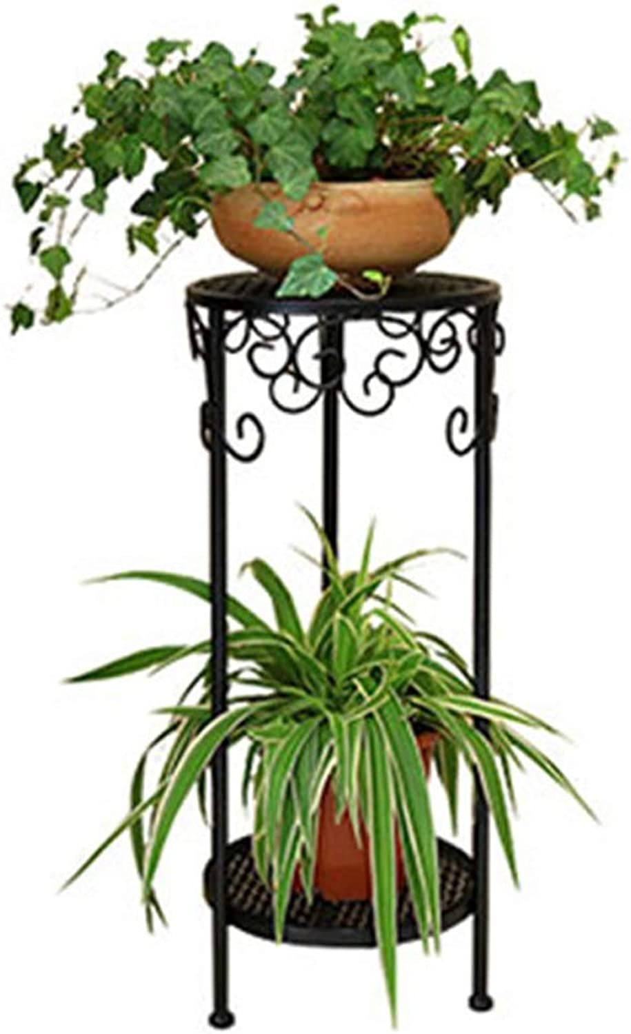 Qing MEI European-Style Floor-Standing Flower Stand Indoor Double-Layer Racks Balcony Wrought Iron Green Pot Rack (Size  30X90cm) A++