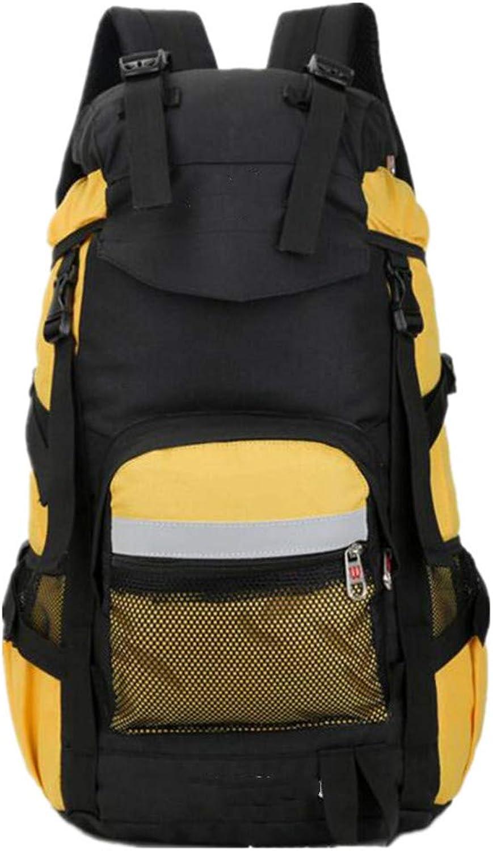 WWHLL Camping Wandern Rucksack Sporttasche, Reiserucksack Kletterausrüstung, 50L Mnner Und Frauen Wasserdichtes Gewebe Rucksack Schock Bergsteigen Rucksack (Gelb)