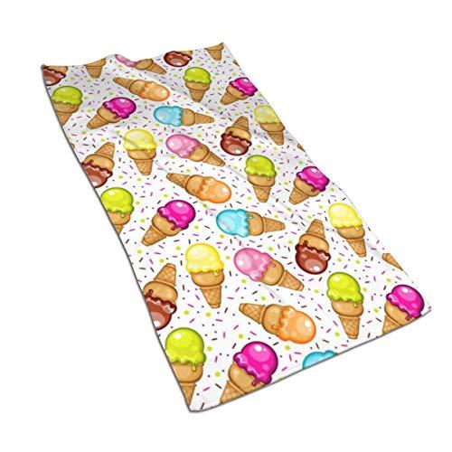 Tyueu Toalla de mano con patrón de cono de helado, toallas de microfibra de secado rápido, súper suave, felpa y muy absorbente, tamaño 27.5 x 15.7 pulgadas