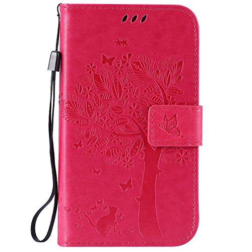 Guran® PU Leder Tasche Etui für Samsung Galaxy Grand Neo Plus / Grand Neo (i9060) Smartphone Flip Cover Stand Hülle & Karte Slot Hülle-Rose Red