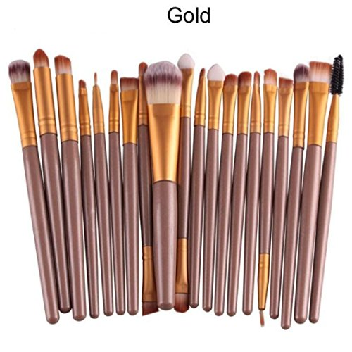 Gocheaper 20 pcs Makeup Brush Set tools Cosmetic Makeup Brush Brushes Set Foundation Powder Eyeshadow Toiletry Kit Wool (Gold)