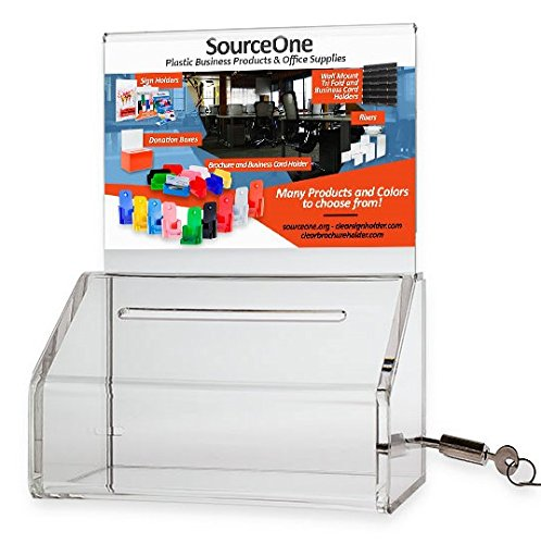 SOURCEONE.ORG Acrylic Heavy Duty Donation/Ballot Box with Lock and Sign Holder