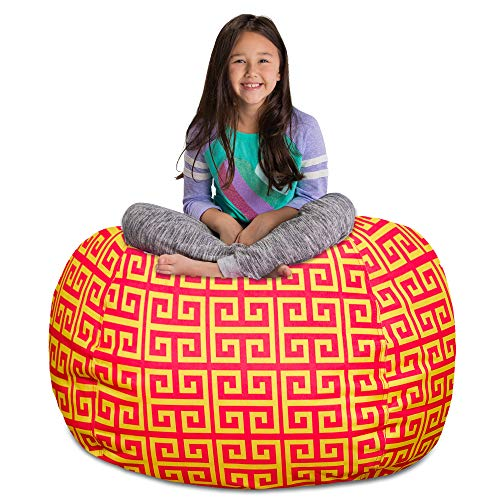 Posh Stuffable Kids Stuffed Animal Storage Bean Bag Chair Cover - Childrens Toy Organizer, X-Large 48' - Pattern Scrolls Red and Yellow
