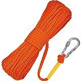 Cuerda de Polipropileno Trenzada Hueca de 50 Feet Línea de Elevación con Gancho de Resorte para Boya de Anillo (Naranja)