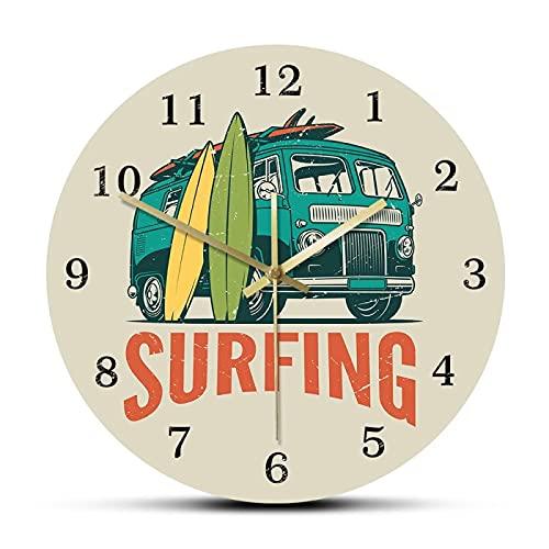xinxin Reloj de Pared Tiempo de Surf Coche de época Kombi Camper Van Reloj de Pared de Surf Viaje de Verano Van y Tabla de Surf Surf Moderno Decoración del hogar Reloj silencioso