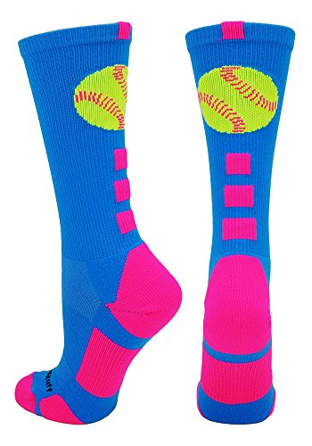 MadSportsStuff Softball Logo Crew Socks (Electric Blue/Neon Pink, Small)