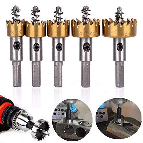 Drill 5 Pcs Hss Hole Saw Set High Speed Steel Hss Drill Bit For Metal Wood Plastic Board 16Mm-30Mm-Gold