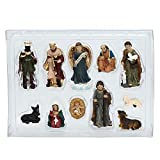 YUOKI99 Figuras de cuna tmas 11 piezas decoración del hogar regalo católico Iglesia artesanía bebé Jesús figuras pesebre mesa miniaturas adornos resina estatua Belén escena