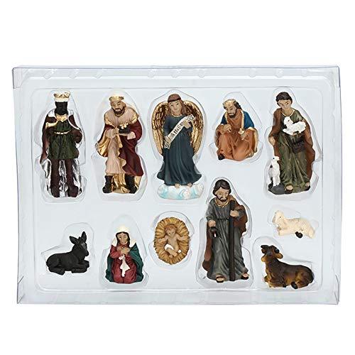 POHOVE Lot de 11 figurines de crèche de Noël en résine 15,2