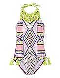 Hilor Girl's Bikini Swimwear Tassels One Piece Swimsuit Halter High Neck Monokinis Argyle Pattern S/6T-6X