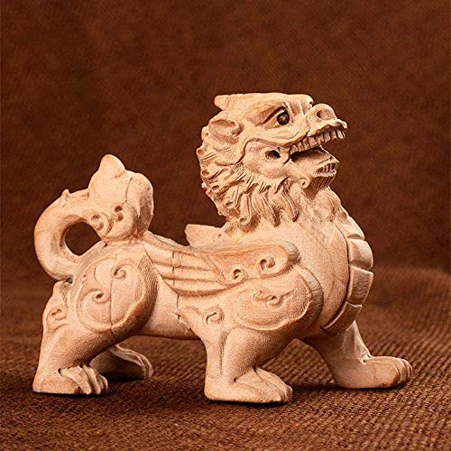 Living Equipment Statues Home Feng Shui Statue Wooden Qilin/Kirin Statues Hand Engraved Chinese Feng Shui Decor For Home And Office Attract Wealth And Good Luck Best Housewarming Congratulatory Gif