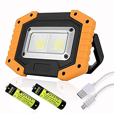 OTYTY 2 COB 30W 1500LM LED Work Light, Rechargeable Portable Waterproof LED Flood Lights for Outdoor Camping Hiking Emergency Car Repairing and Job Site Lighting
