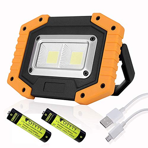 OTYTY 2 COB 30W 1500LM LED Work Light, Rechargeable Portable Waterproof LED Flood Lights for Outdoor Camping Hiking Emergency Car Repairing and Job Site Lighting (1 Pack)