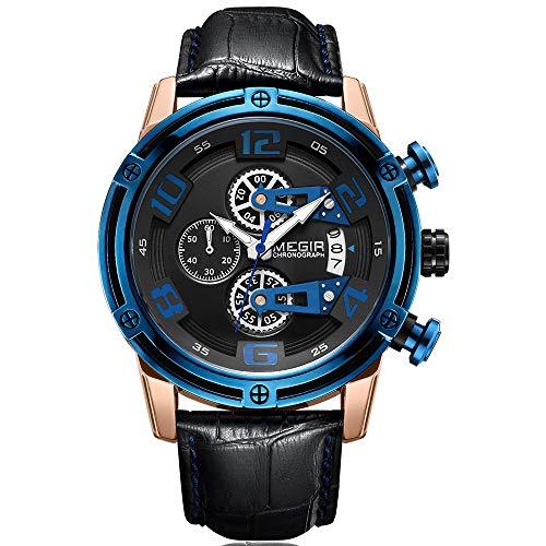 Megir - Orologio da polso da uomo in oro rosa, militare, nero, cinturino in pelle con lancette blu, cronografo, calendario, impermeabile, luminoso