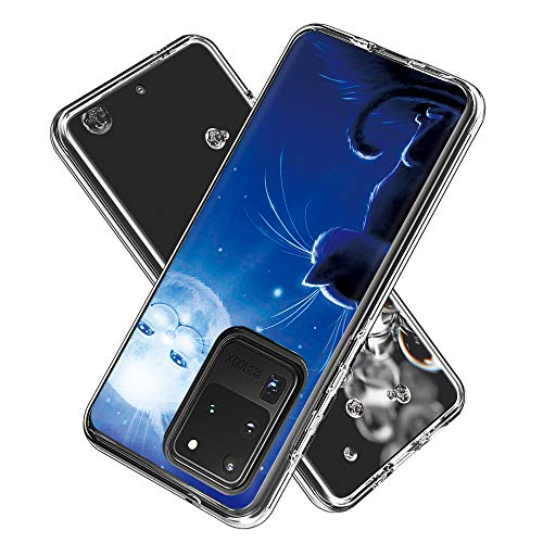 Coque Samsung Galaxy S20 Ultra(6.9inch, Silicone Bumper, Transparent PC + TPU Hybride Boîtier de Protection avec Carte de Mode (Cat Sun)