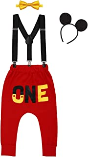 Baby Boys First Birthday Mickey Costume Cake Smash Outfits Suspenders Bloomers Bowtie Mouse Ear Photography Props 4PCS Set