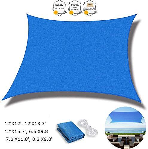 Beirich Parasol azul rectangular con kit de herrajes para toldo, toldo o toldo, bloque UV para patio o jardín, patio exterior, toldo de vela cuadrada permeable al agua y aire, 8.2'X9.8'(2.5X3m)
