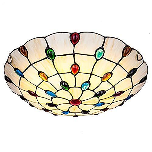 Led Estilo Tiffany Fijación De Techo Plafón,Jeweled Vidrieras Amarillo Vintage Antiguo Lámpara De Techo para Dormitorio Hallway Cocina Salón-Luz Cálida 50cm
