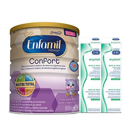 Enfamil Confort - Leche infantil para bebés lactantes con transtornos digestivos leves + Eryplast Lutsine E45 Pasta al Agua Crema Pañal Bebé - 2 x 125 ml
