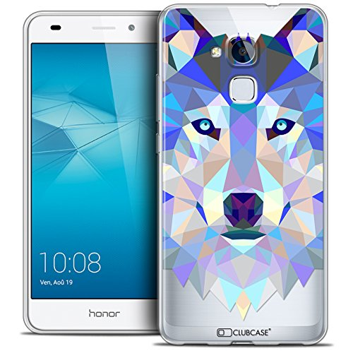 Caseink - Coque Housse Etui pour Huawei Honor 5C [Crystal Gel HD Polygon Series Animal - Souple - Ultra Fin - Imprimé en France] Loup