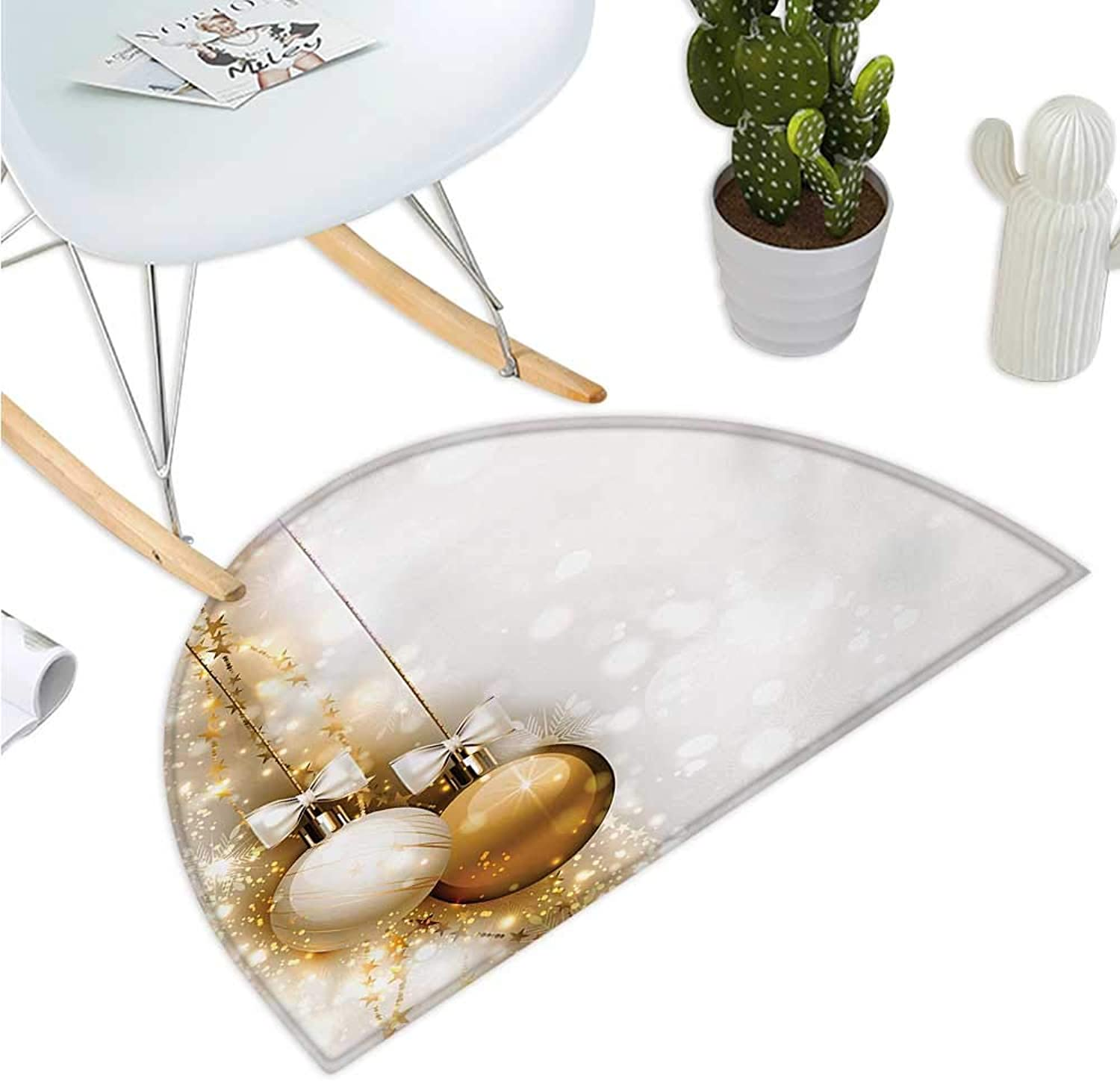 Christmas Semicircular Cushion Religious Rituals Featured Xmas Baubles with Ribbon Holiday Wish Artwork Image Bathroom Mat H 39.3  xD 59  White Beige