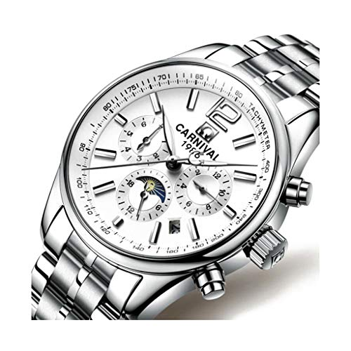 CARNIVAL Relojes para Hombre, Multifuncional Automatico Reloj Mecanico Impermeable Relojes de Pulsera Estilo de Negocios con Calendario 8702G (Color : White Silver)